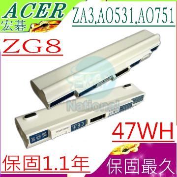 宏碁電池-Aspire one ZG8 ZA3,AO751h,AO531H,AO751h-1153,AO751h
