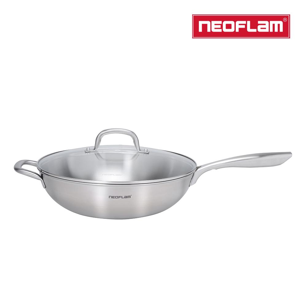 ㊣超值搶購↘52折NEOFLAM 不銹鋼316炒鍋32cm(含強化玻璃蓋)