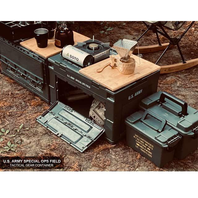 CampingBar日本夯物-軍風折疊側開收納箱